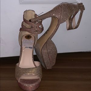 Nine West Gold & Pink Iridescent Heels